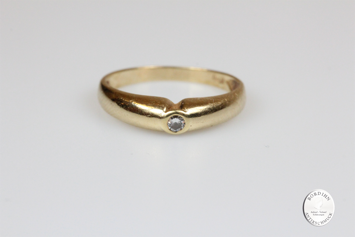 Ring 14 Karat Gold 1 Brillant Schmuckring Bandring Diamantring Damen