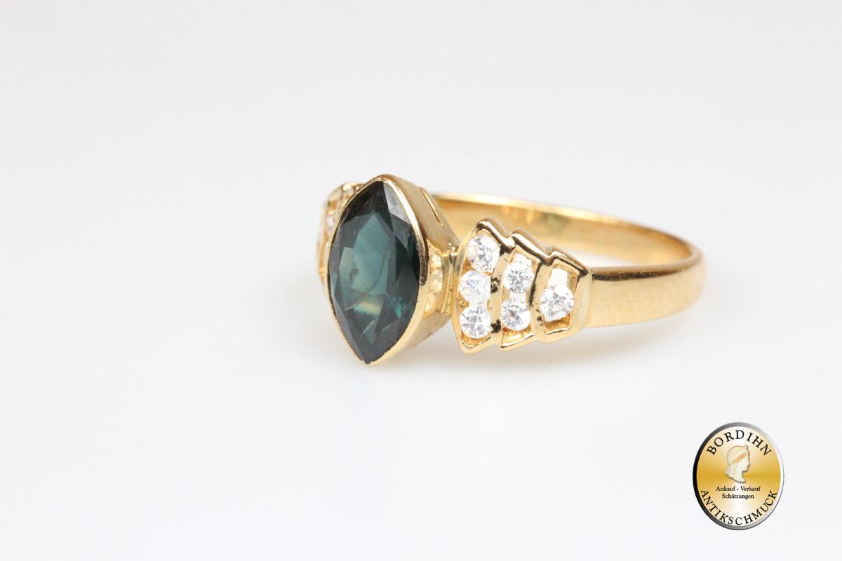 Ring; 18 Karat Gold, grüner Safir, Farbsteine