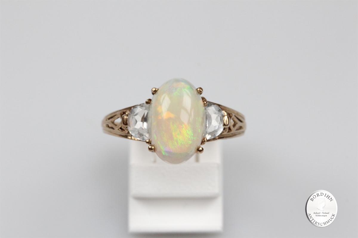 Ring 9 Karat Gold Opal Bergkristall Damenring Edelstein Schmuck Damen
