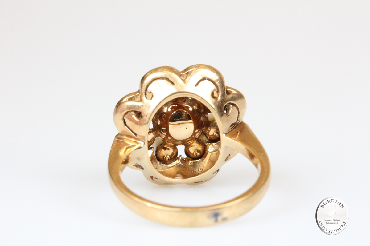 Ring 18 Karat Gold 9 Perlen Goldring Perlenring Schmuck Damen Geschenk