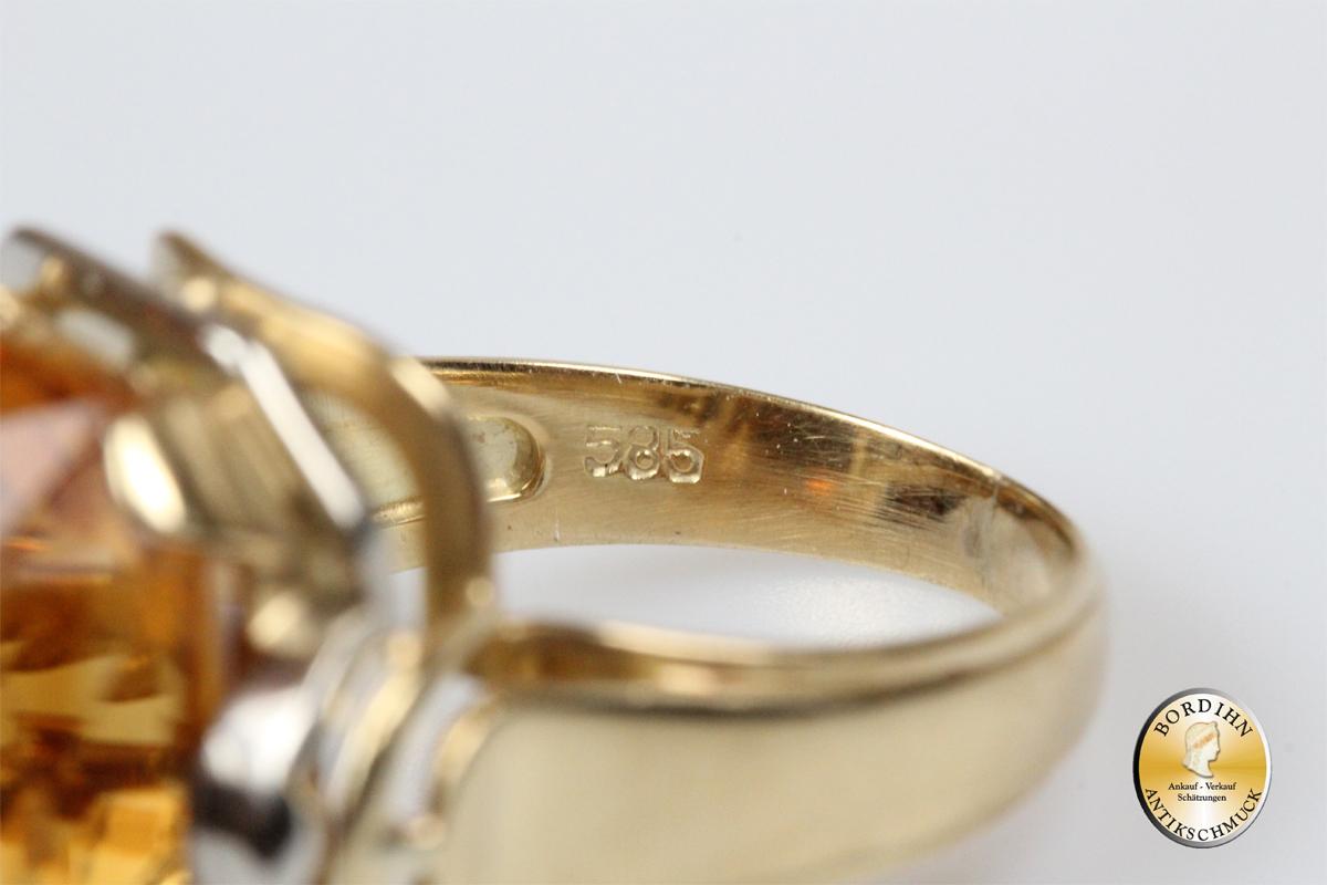 Ring Damenring 14 Karat Citrin Edelstein Fingerring Schmuck Damen