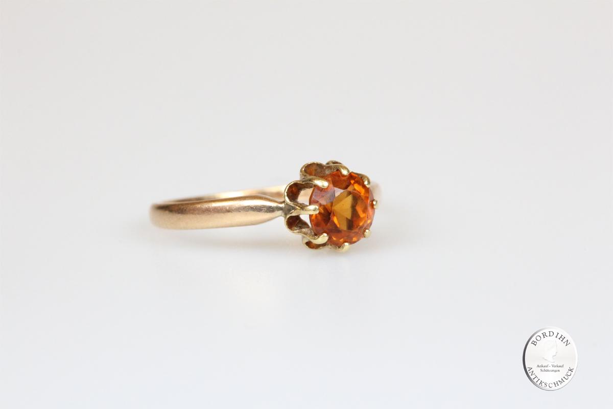 Ring 8 Karat Gold Citrin Goldring Schmuckring Damen Geschenk