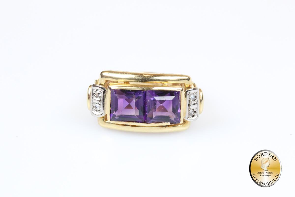 Ring; 14 Karat Gold mit 2x Amethyst und 4x Diamant