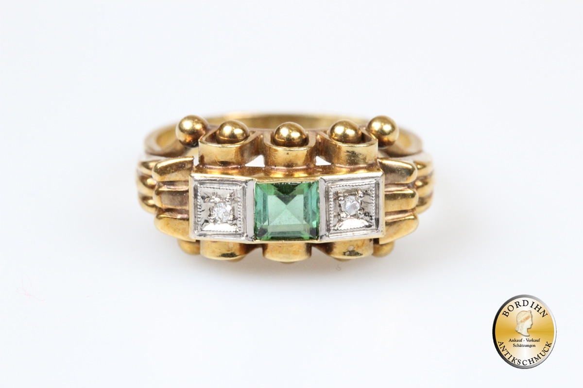 Ring 14 Karat Brillanten Turmalin Goldring Edelsteine Geschenk Damen