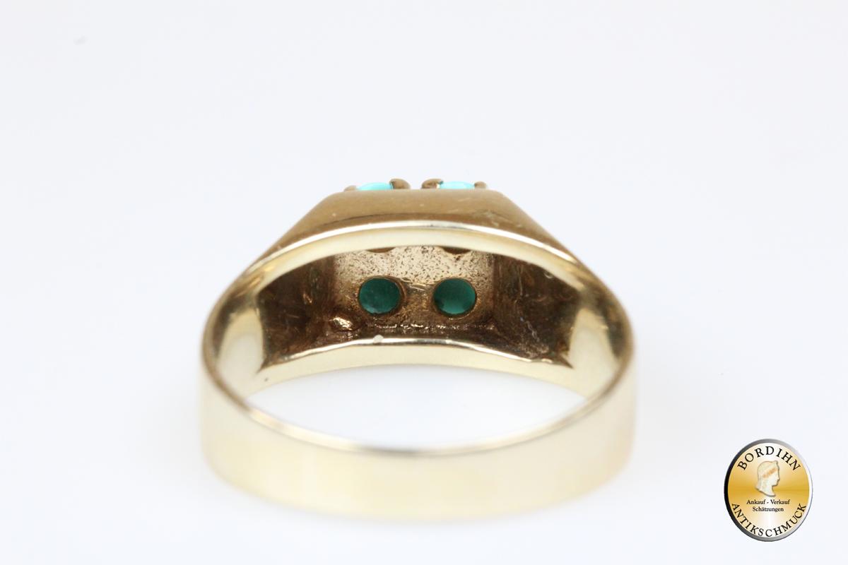 Ring 8 Karat Gold mit 4 Türkisen Goldring Türkis Schmuck Damen