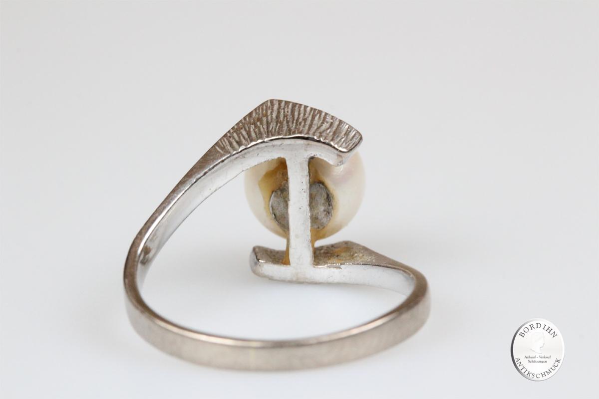 Ring 14 Karat Gold Perle Weißgold Schmuckring Perlenring Damen Schmuck