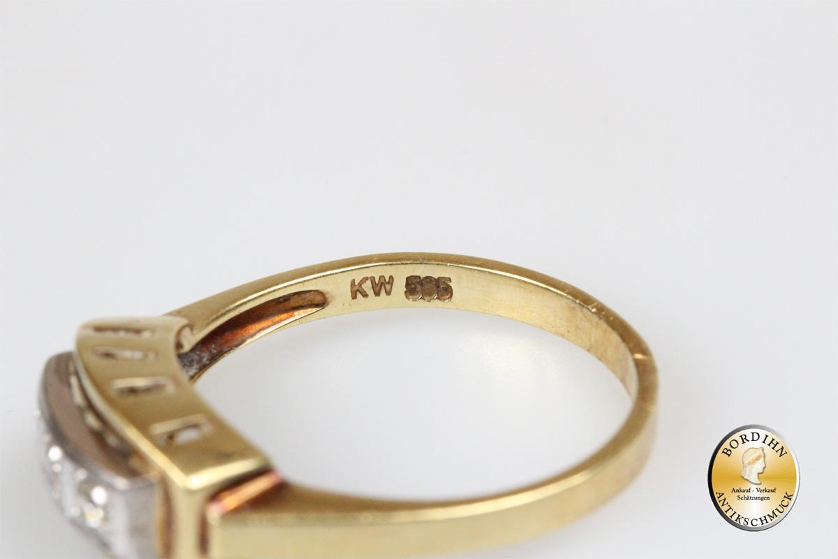Ring 14 Karat Gold 3 Brillanten Diamantring Edelsteine Goldring Antik