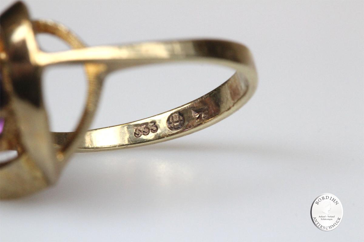 Ring 8 Karat Gold Amethyst Schmuckring Fingerring Damenring Schmuck