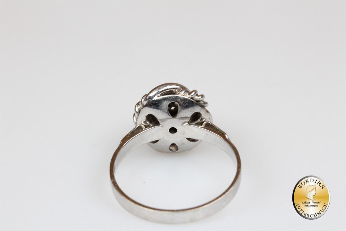 Ring 18 Karat Weißgold Farbstein Schmuckring Goldring Fingerring Damen