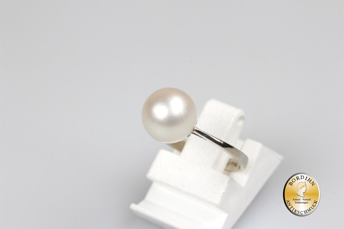 Ring 18 Karat Weissgold 1 grosse Perle Schmuckring Fingerring Gold