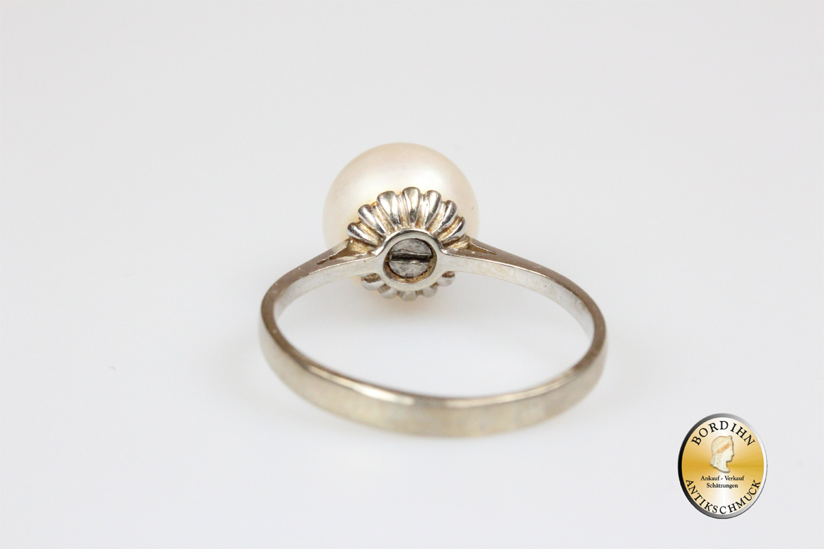 Ring 18 Karat Weissgold 1 grosse Perle Schmuckring Fingerring Gold