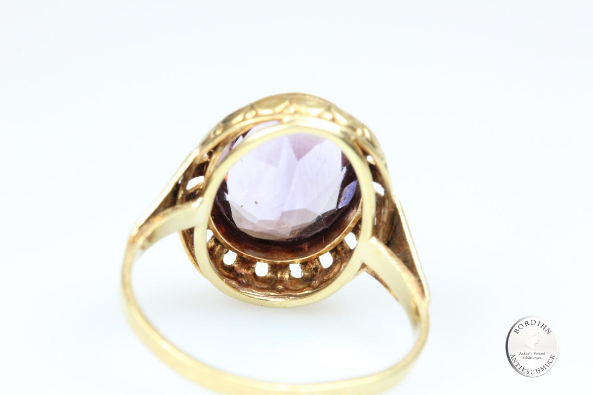Ring 14 Karat Gold Amethyst Damenring Fingerring Schmuckring Geschenk