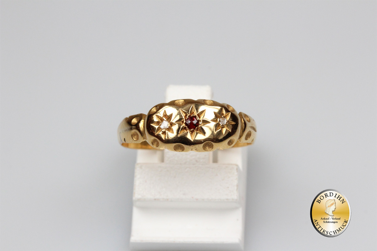 Ring 18 Karat Gold 1 Rubin Diamanten antik Goldring Schmuckring Damen
