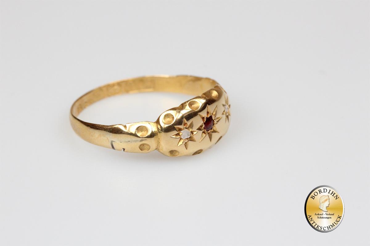 Ring 18 Karat Gold 1 Rubin Diamanten antik Goldring Schmuckring Damen
