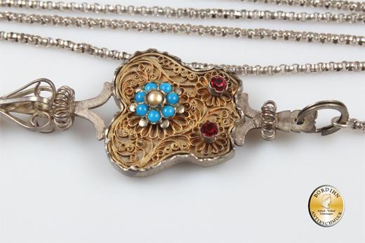 Trachtengeschnür; Silber, Kette und Stecker, antik