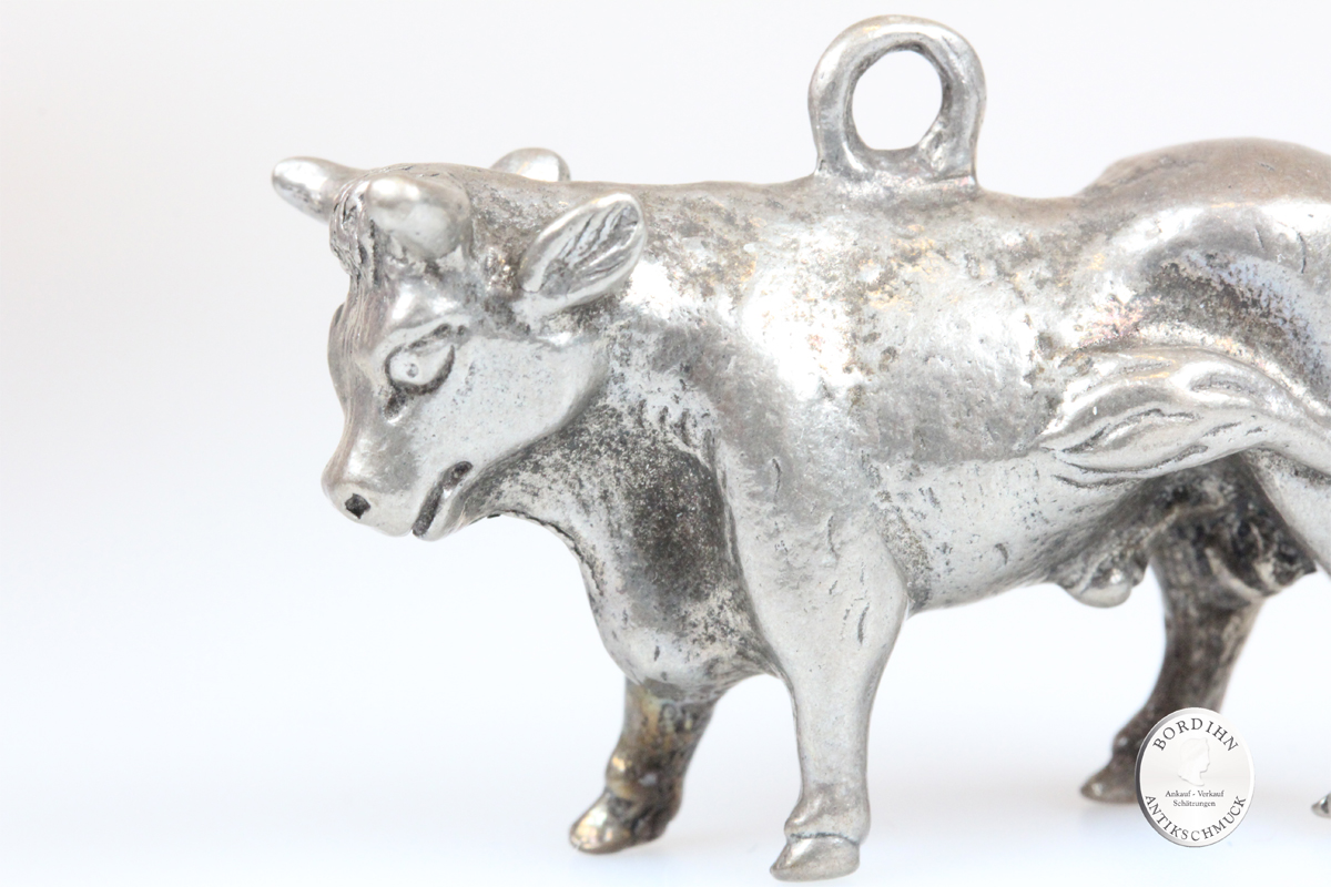 Anhänger 800 Silber Stier Kuh Schmuck Figur für Bauchkette Schariwari Geschenk