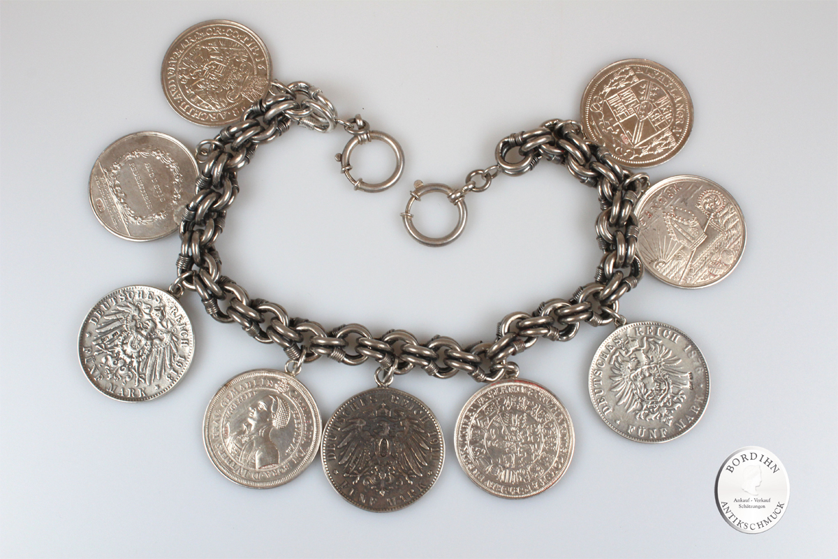 Schariwari Kette Silber Bauchkette antik mit Münzen Trachtenschmuck