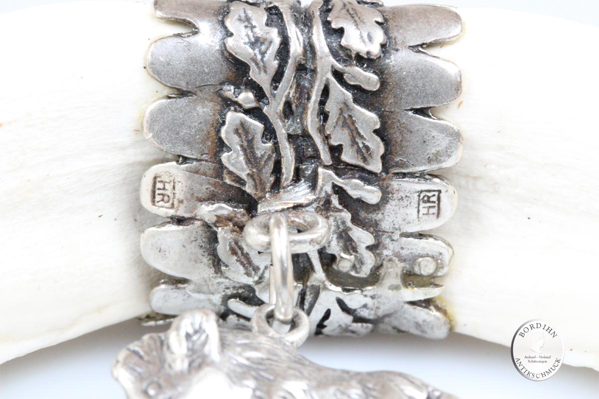 Anhänger 835 Silber Keilerzahn Scharivari Tracht Schmuck Trophäe