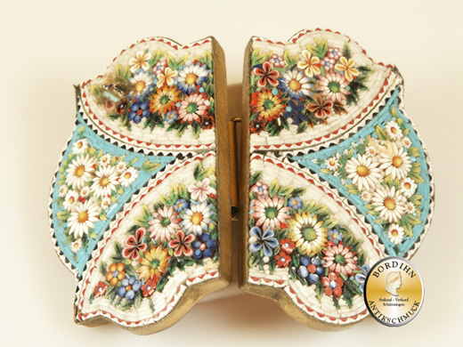 Gürtelschliesse; Mosaik Messing, antik 1880, Tracht