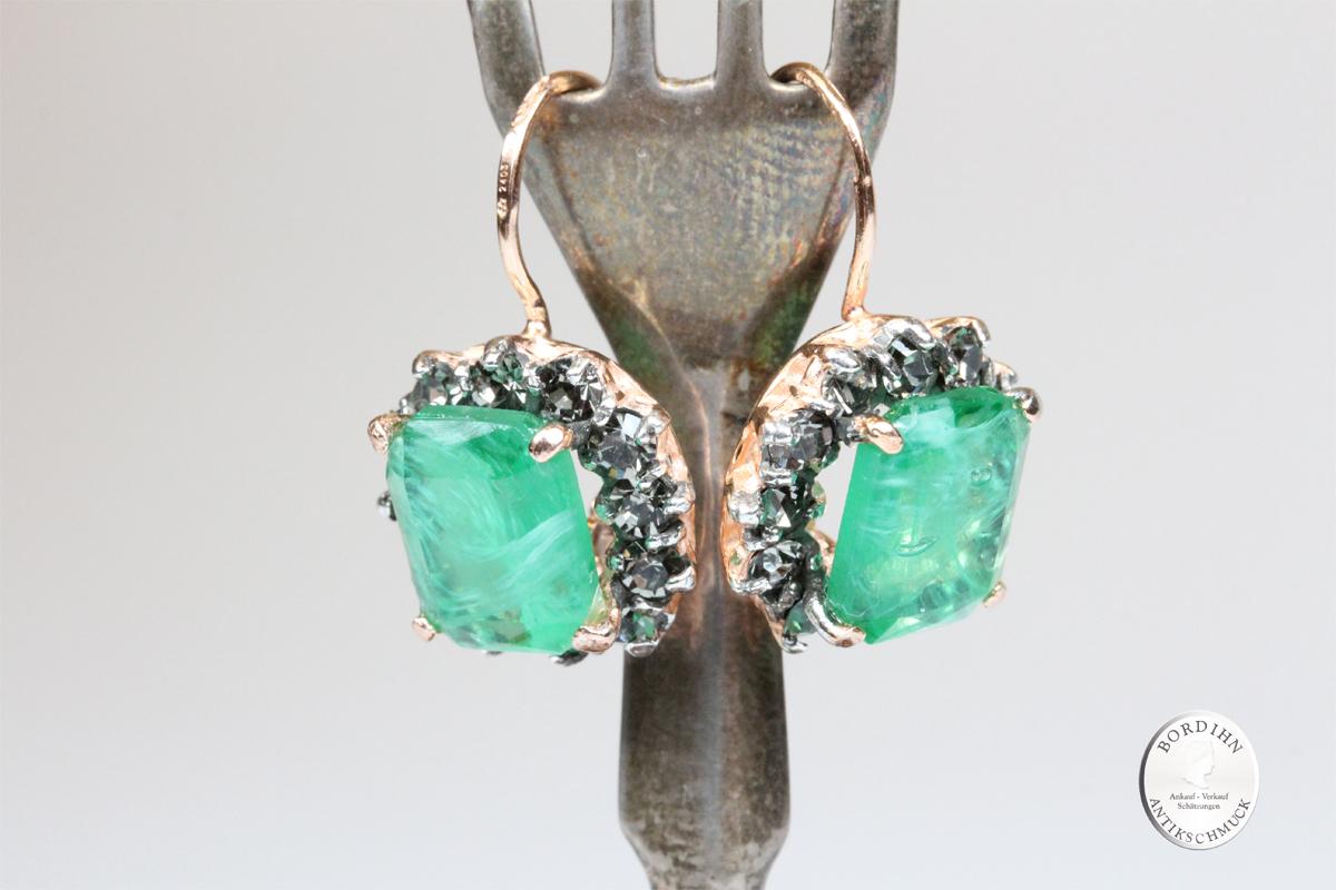 Ohrhänger Sterlingsilber vergoldet synthetischer Chrysopras Ohrringe