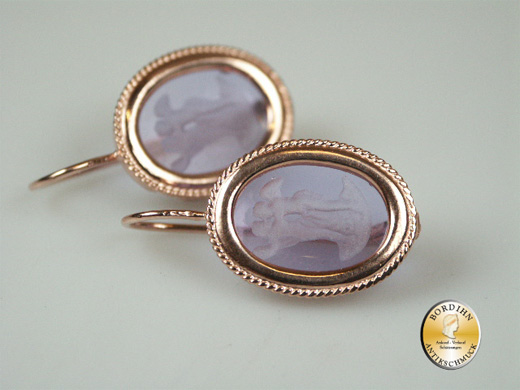 Ohrring 925 Silber vergoldet Römisches Glas Ohrhänger Schmuck Damen