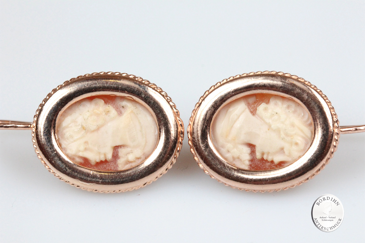 Ohrringe Sterlingsilber vergoldet echte Kamee Ohrhänger Ohrschmuck neu
