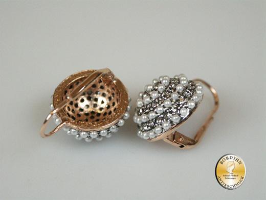 Ohrhänger Silber vergoldet synth Perlchen Strass Ohrhänger Schmuck