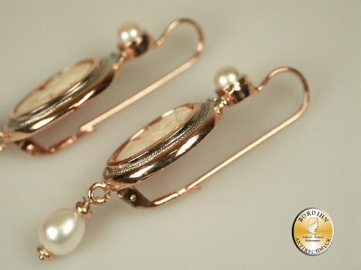 Ohrhänger Silber vergoldet echte Kamee Flusswasserperle Ohrschmuck