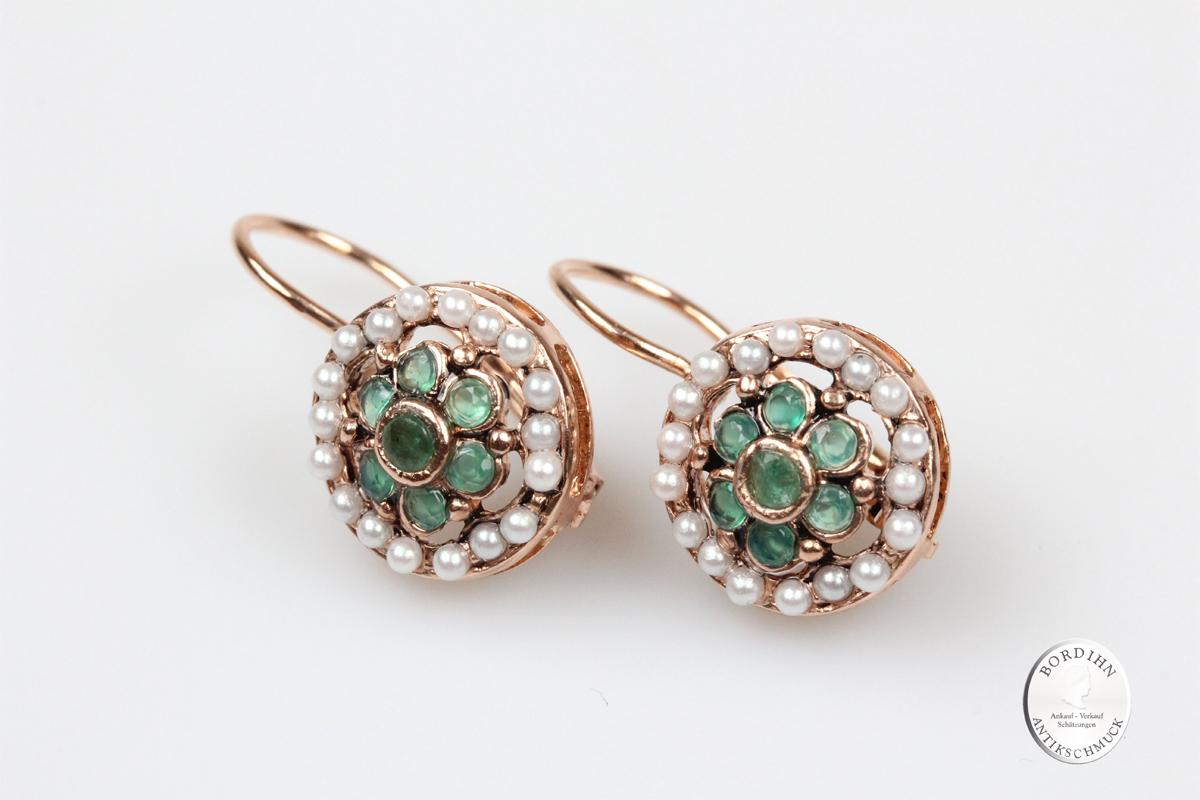 Ohrhänger Silber vergoldet Smaragd synth Perlchen Ohrring Ohrschmuck