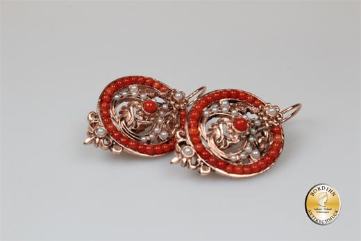 Ohrringe Silber vergoldet Koralle Retro synth Perle Ohrschmuck Damen