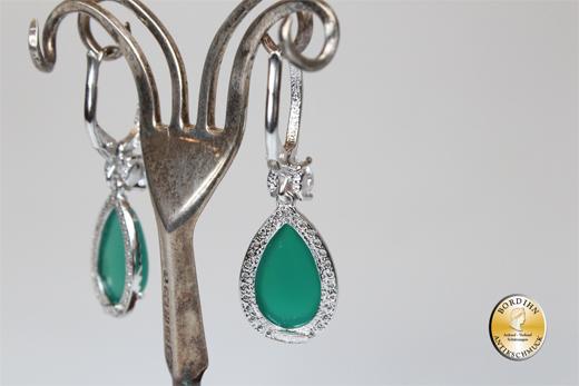 Ohrringe 925 Silber Achat synth Steine Ohrschmuck Ohrhänger Damen