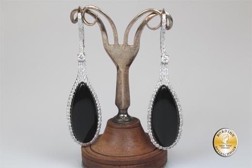 Ohrringe; Silber, Sterling, Onyx, Kristall