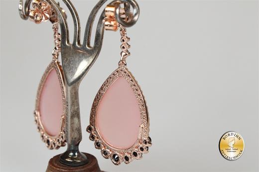 Ohrringe 925 Silber vergoldet Chalzedon Kristall Ohrhänger Ohrschmuck
