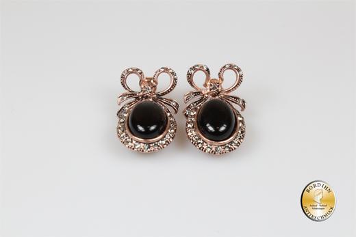 Ohrringe Silber vergoldet Onyx Strass Ohrhänger Ohrschmuck Damen neu