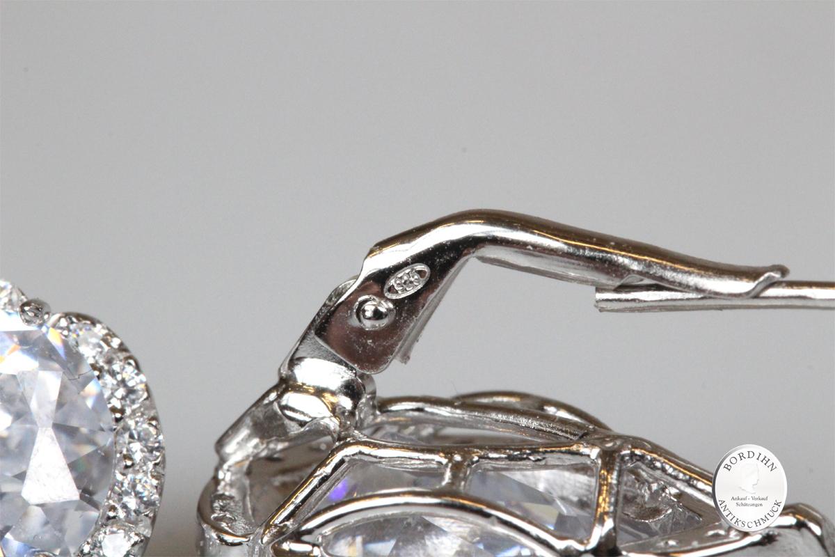 Ohrringe 925 Silber Zirkonia Kristall Ohrhänger Ohrschmuck Damen