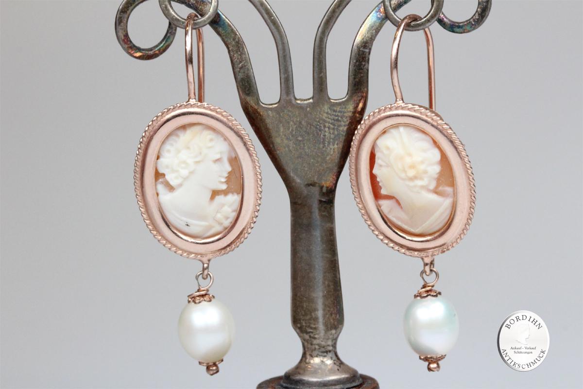 Ohrringe Sterlingsilber vergoldet echte Kamee echte Perle Ohrschmuck