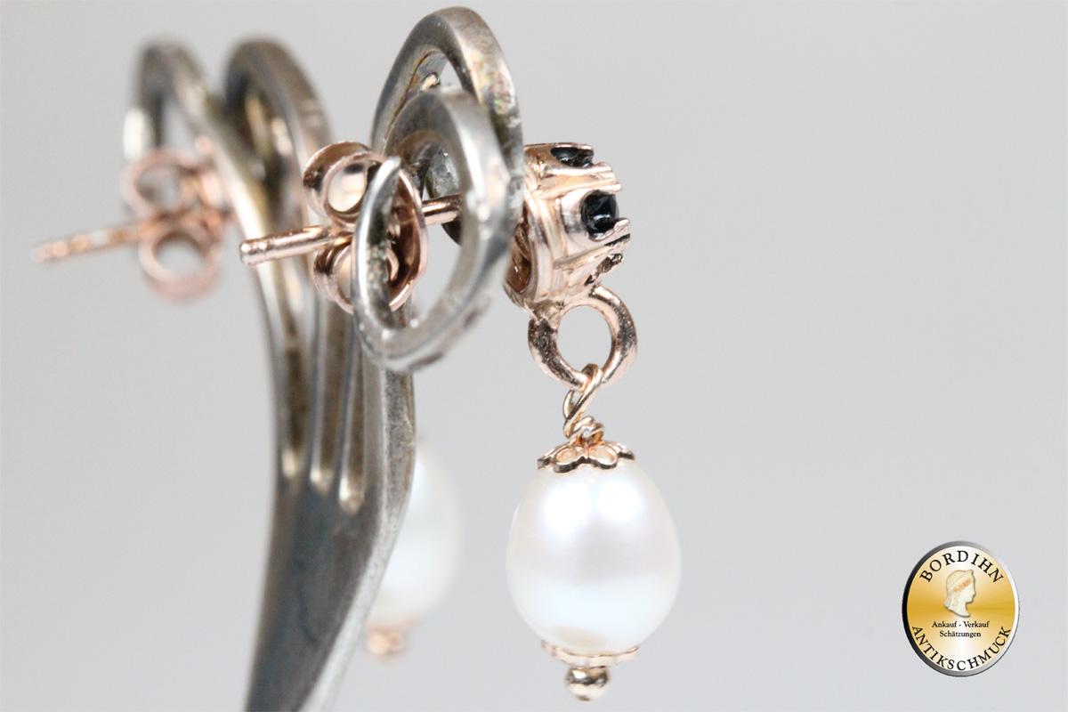 Ohrring 925 Silber vergoldet echter Safir Flusswasserperlen Schmuck