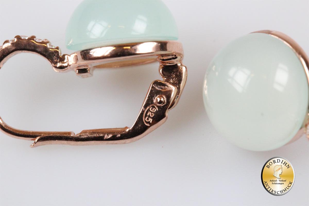 Ohrringe 925 Silber vergoldet synth. Stein Kristall hellgrün Ohrhänger