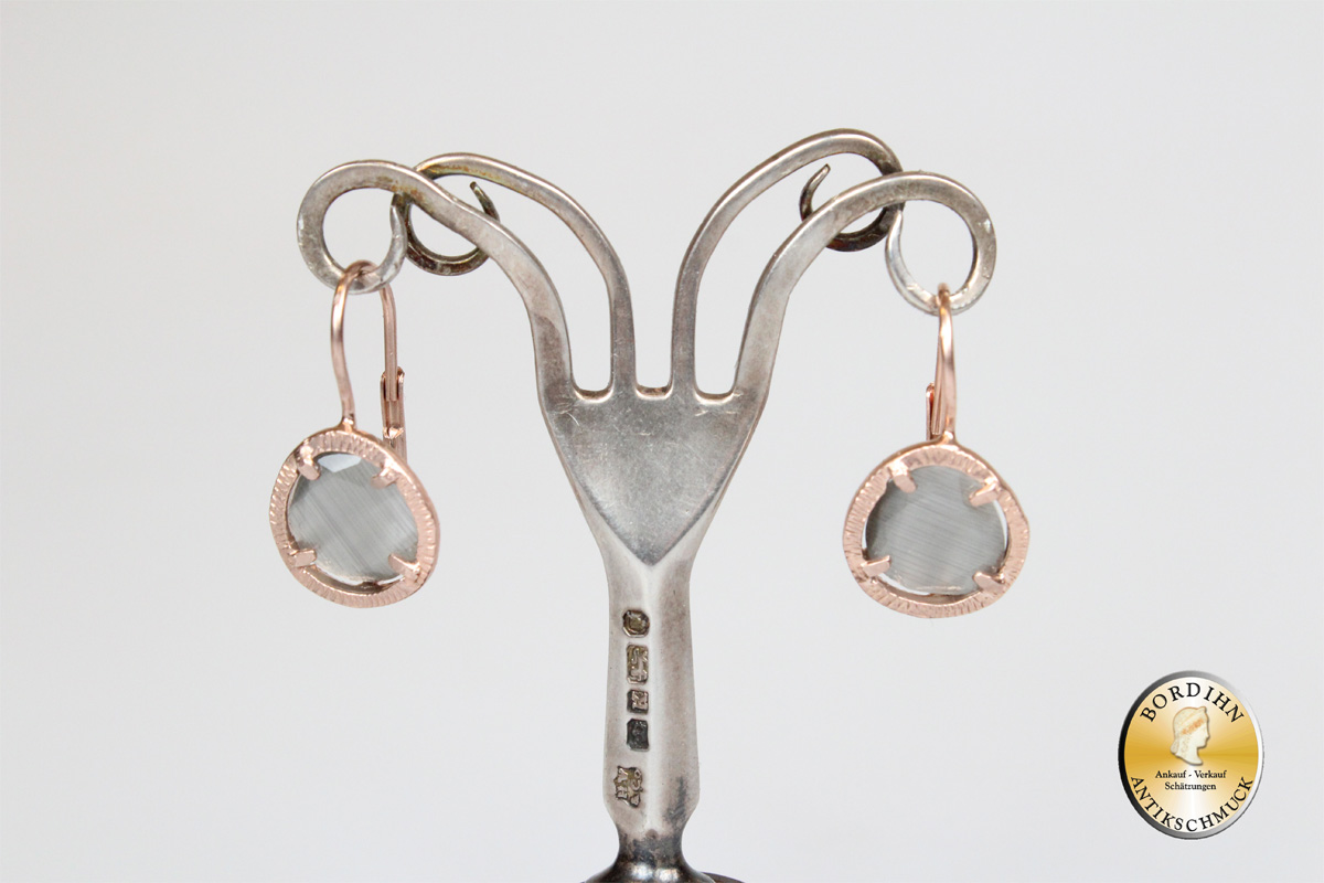 Ohrring 925 Silber vergoldet synth Stein braun Ohrhänger Schmuck Damen