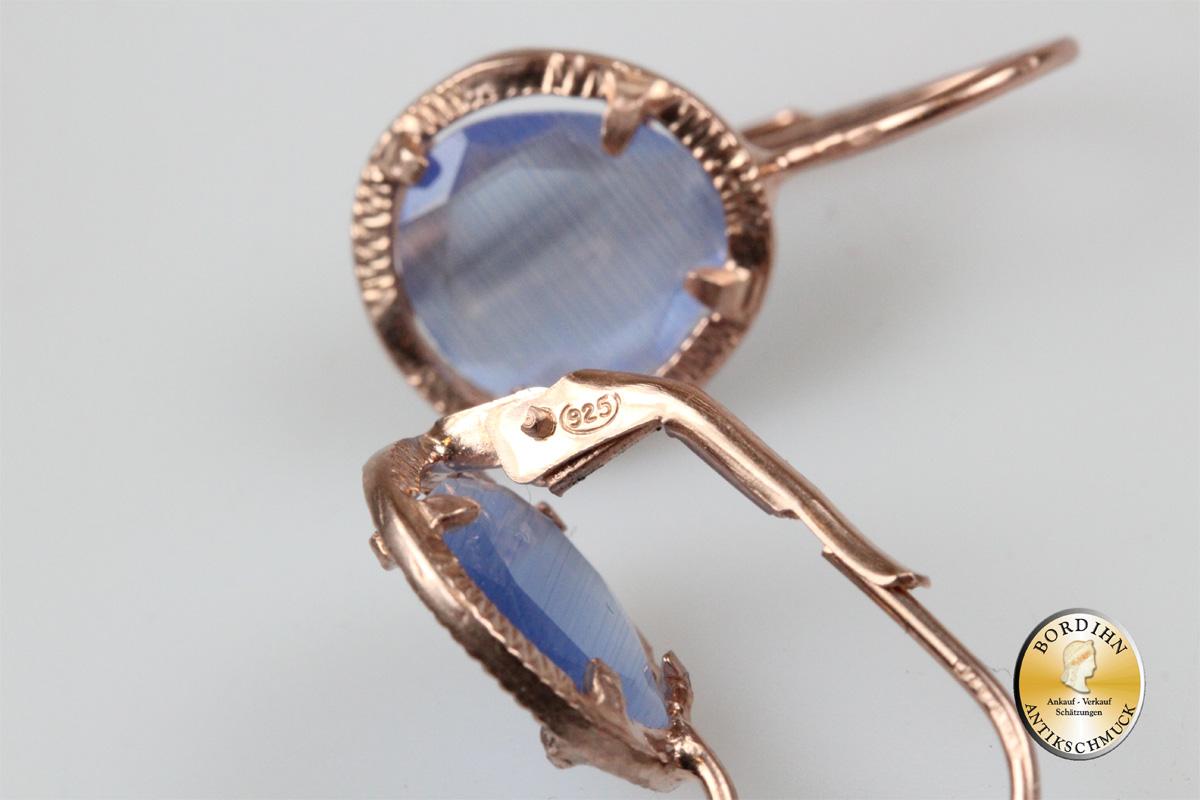 Ohrring 925 Silber vergoldet synth. Stein blau Ohrhänger Schmuck Damen