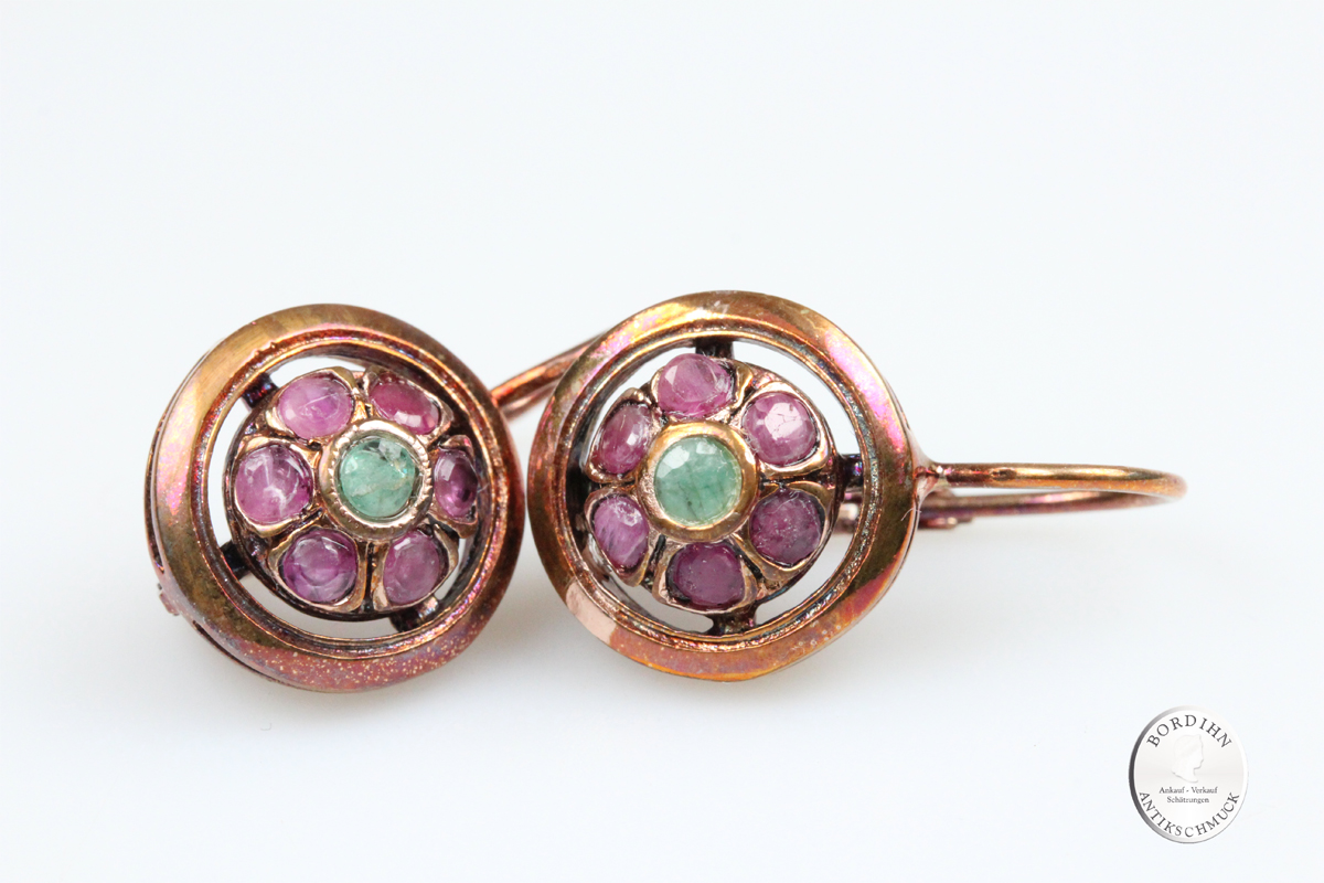 Ohrringe 925 Silber vergoldet Smaragd Rubin Ohrschmuck Venezianisch