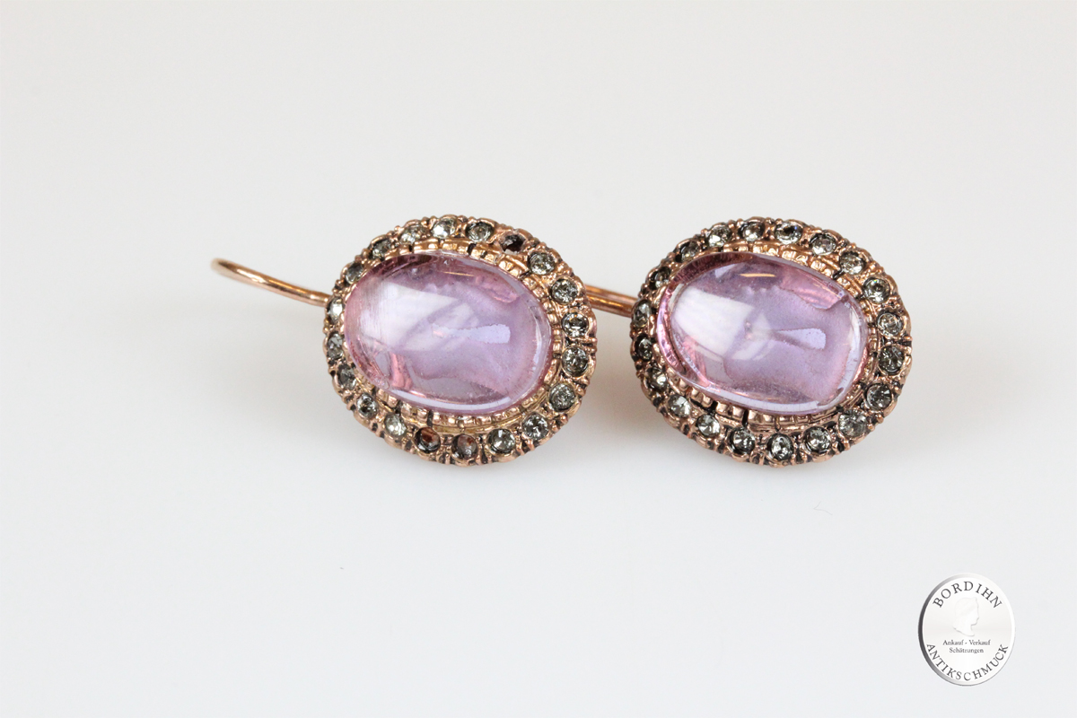 Ohrhänger Silber vergoldet römisches Glas Ohrschmuck Geschenk Damen