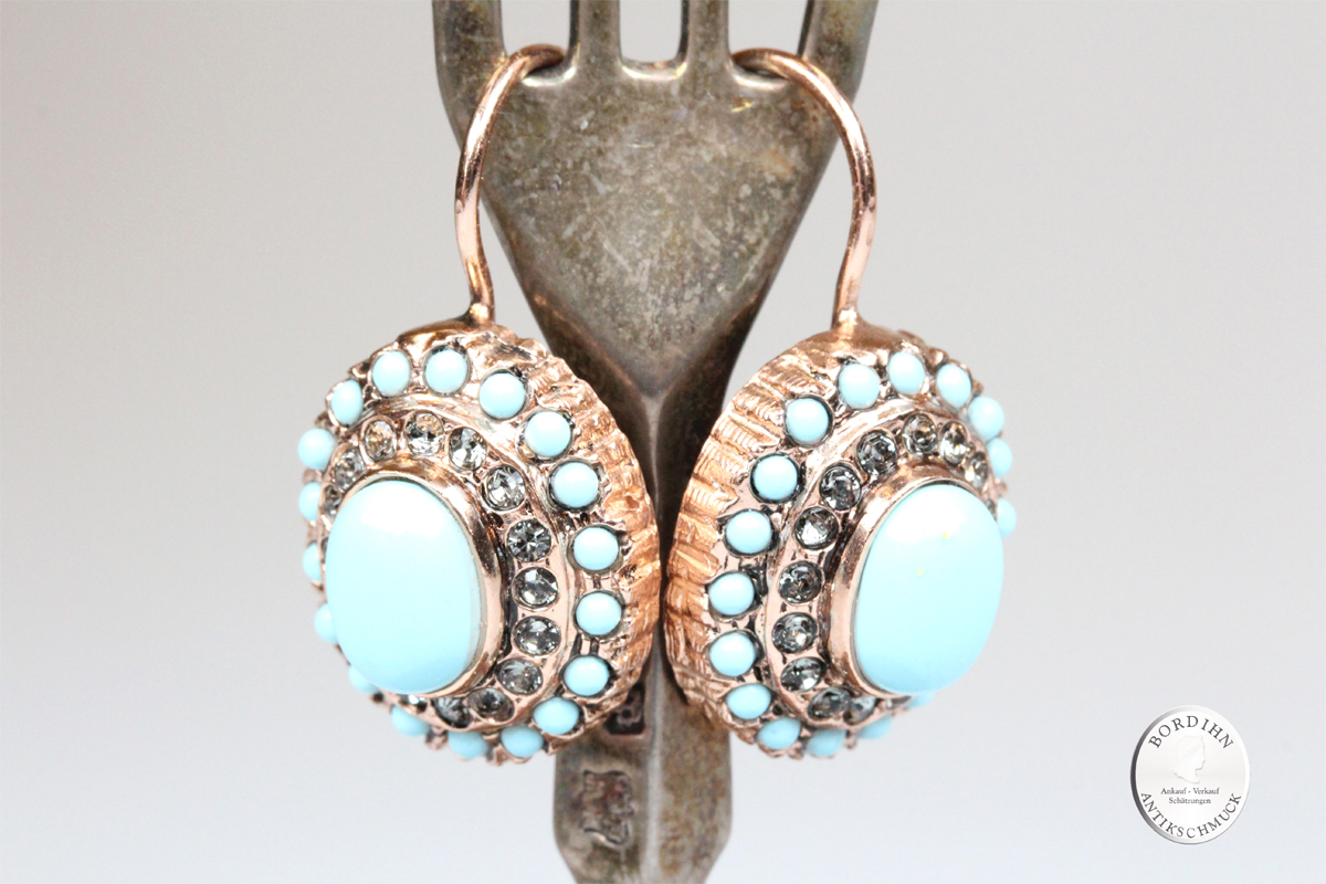 Ohrringe 925 Silber vergoldet Türkis Retro Strass Ohrschmuck Damen