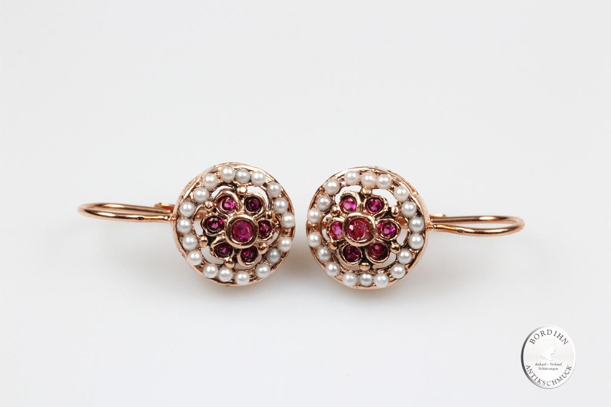 Ohrringe 925 Silber vergoldet Rubin synth. Perlen Ohrschmuck Damen