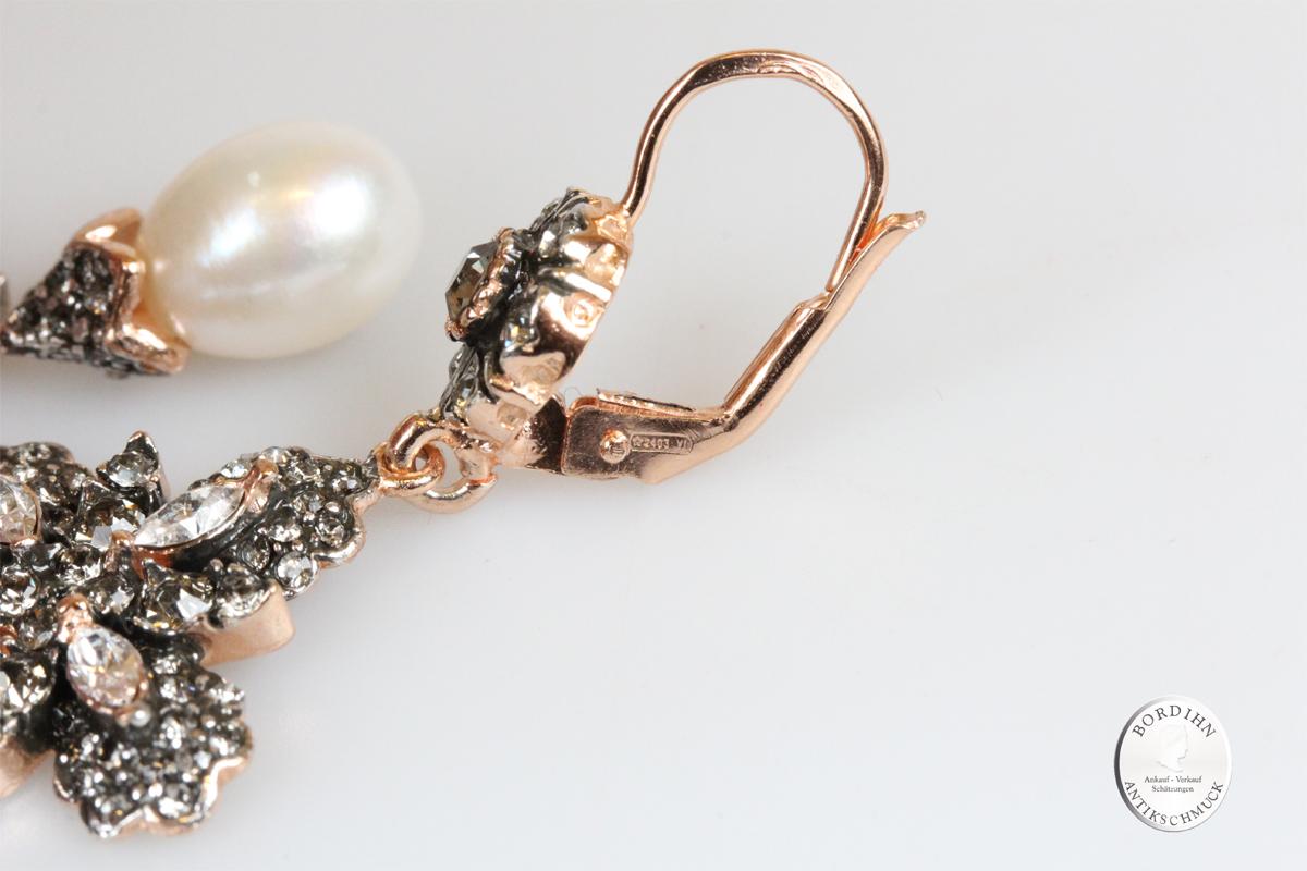 Ohrringe 925 Silber verg Flusswasser Perle Strass Ohrhänger Schmuck