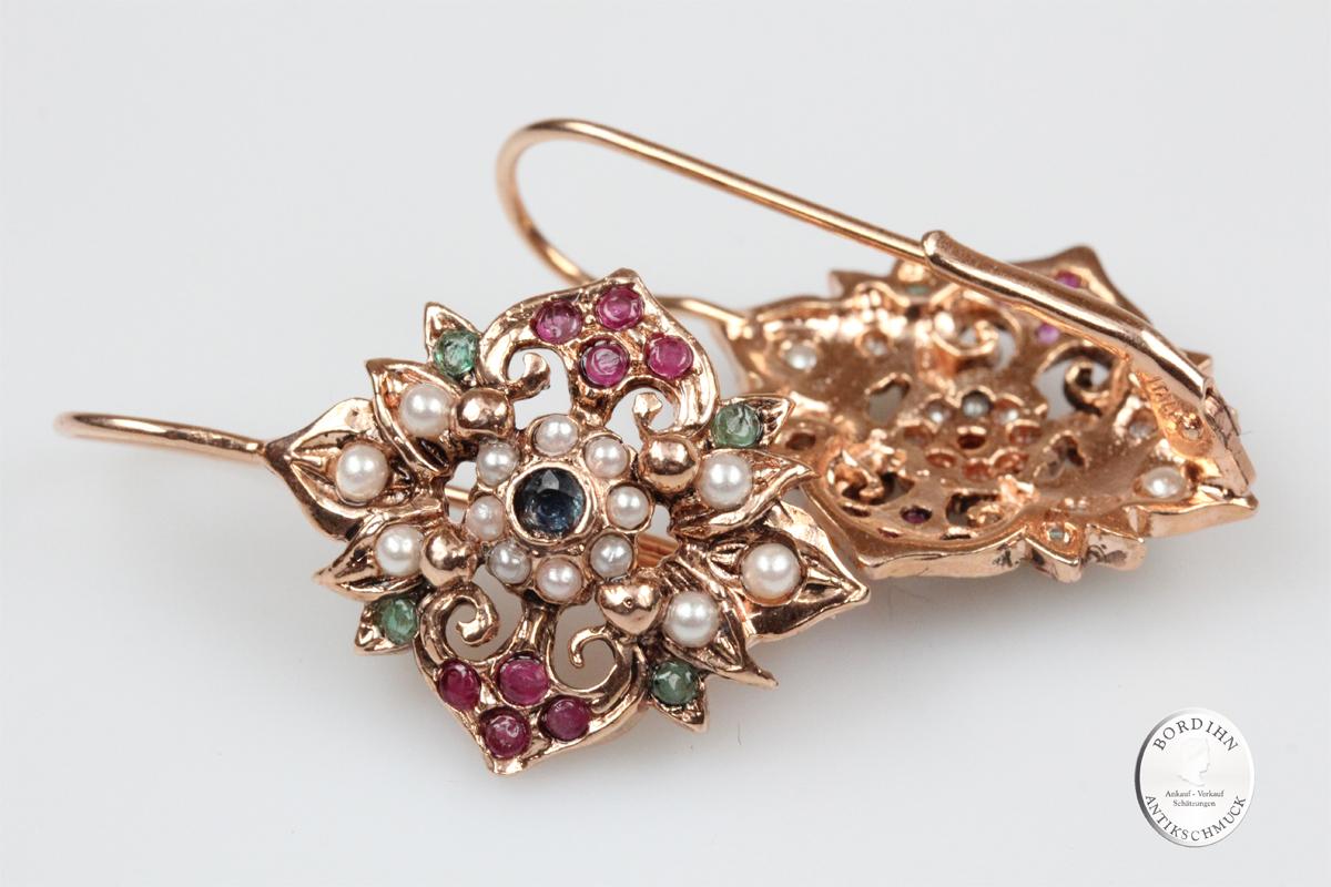 Ohrringe Silber vergoldet Smaragd Safir Rubin synth. Perlen Ohrschmuck