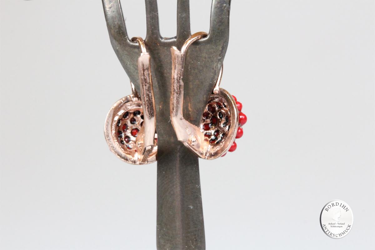 Ohrringe Silber verg Koralle retro Perlchen Ohrhänger Ohrschmuck Damen