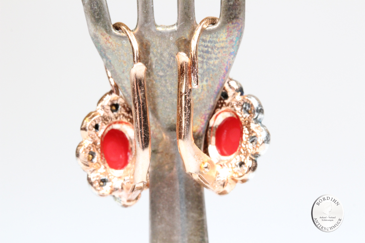 Ohrringe Silber vergoldet Koralle retro Strass Ohrschmuck Ohrhänger