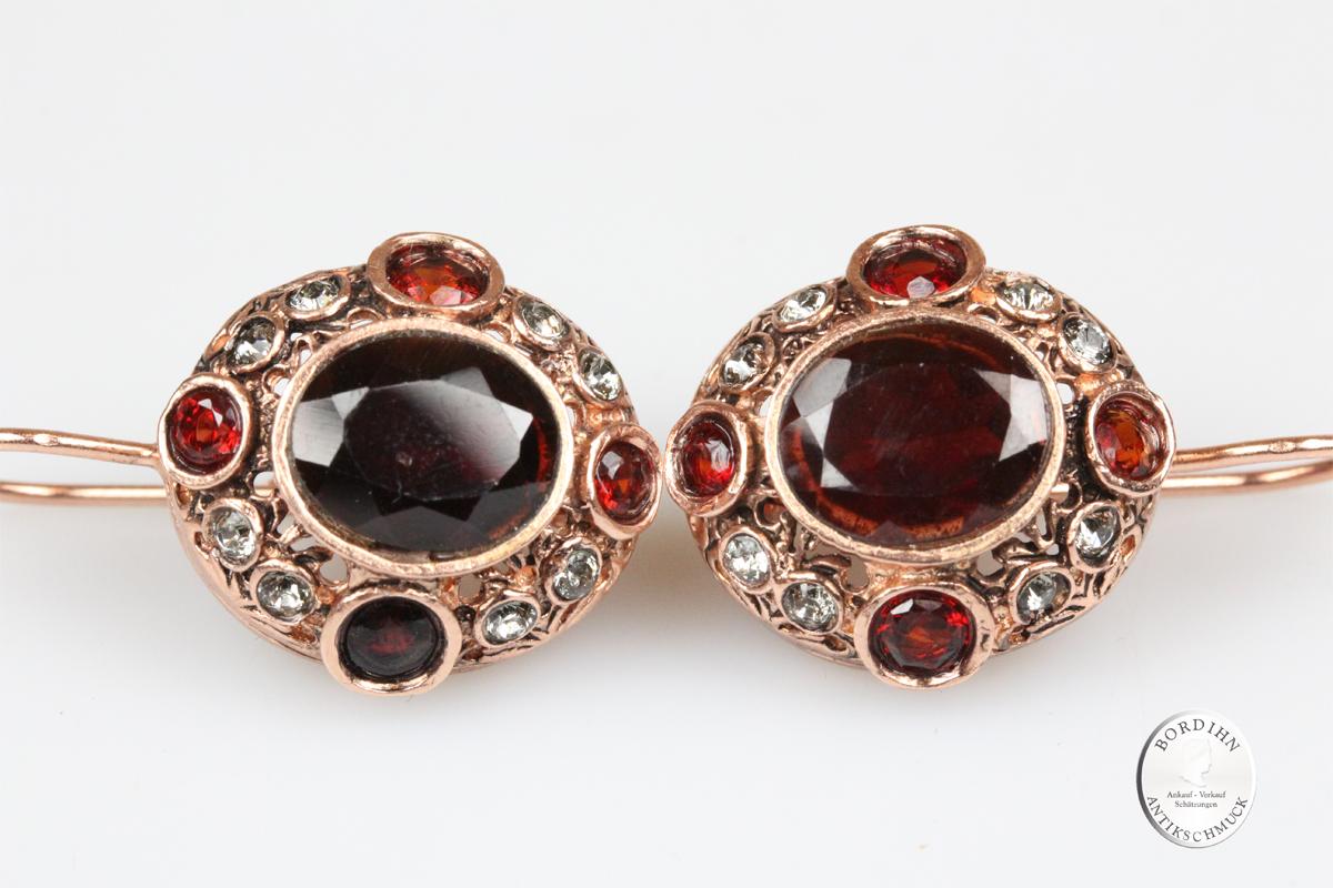 Ohrringe 925 Silber vergoldet Granat Strass Ohrschmuck Ohrhänger Damen