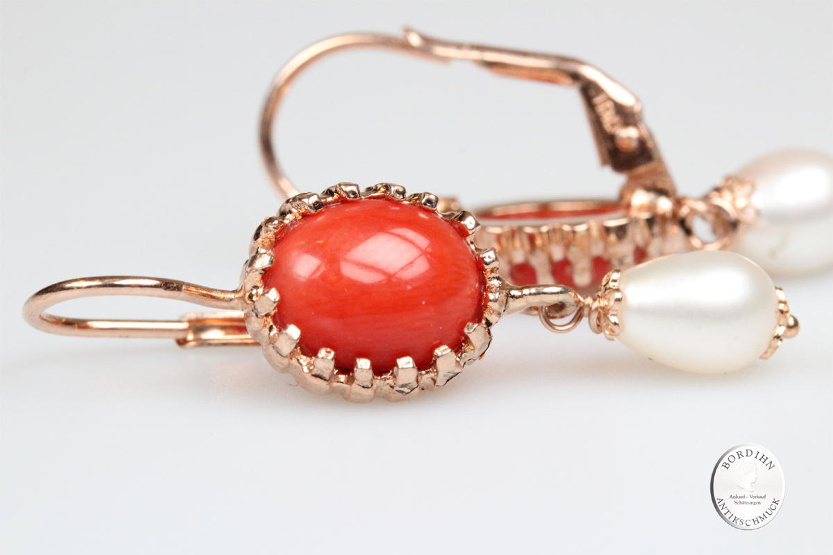 Ohrringe Silber vergoldet echte Koralle Flusswasser Perle Ohrhänger